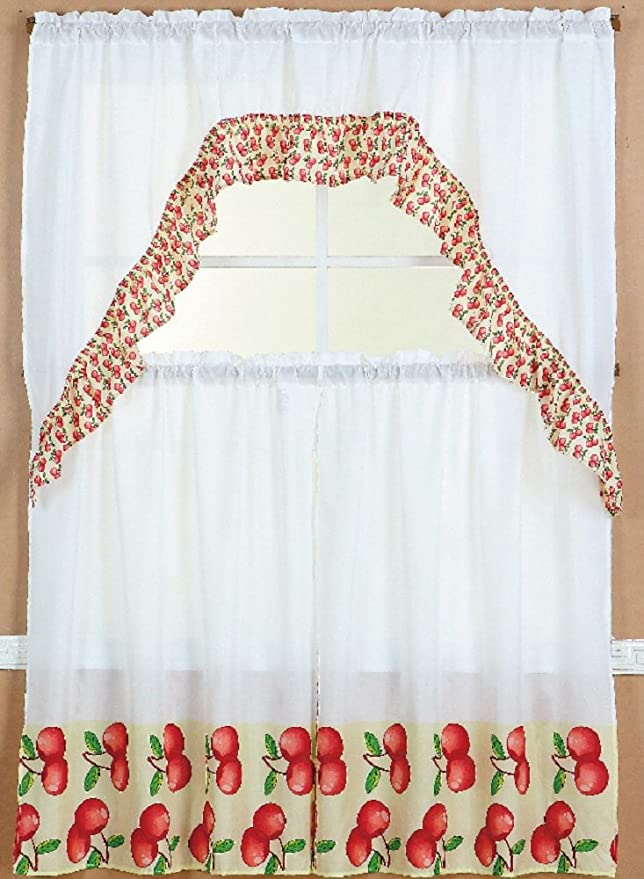 Wpm 3 Piece Kitchen Curtain Set 2 Tiers And 1 Valance Apple Home Kitchen