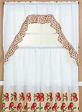 3 Piece Kitchen Curtain Set: 2 Tiers and 1 Valance (Apple)
