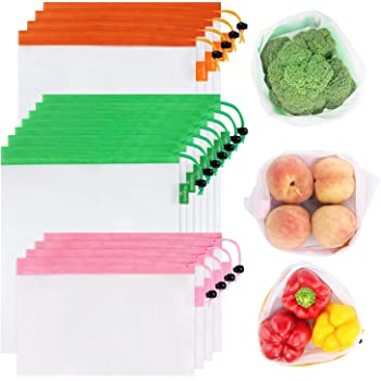 GOGOODA, 3 Size Lightweight Washable and See Through Mesh Produce Bags with Drawstring, Toggle Tare Weight Tag, Color Band for Easy to Pick, 4 Large 7 Medium &4 Small, Orange Green and Pink
