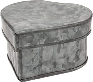 Stonebriar Aged Galvanized Metal Heart Shaped Storage Container with Removable Lid