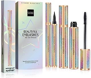 Mascara, Ksndurn Eyeliner & Mascara Set - 4D Silk Fiber Lash Mascara, Liquid Eyeliner Black / Waterproof Eyeliner Pencil a...
