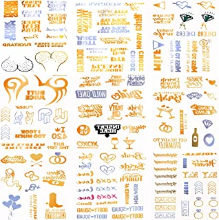 Twdrer Over 100PCS Bachelorette Party Tattoos, Bride Tribe Tattoos (9 sheets) Gold Silver Temporary Metallic Gold Tattoos Team Bride Gift Bride Tribe Bridal Shower Favor Decorations Hen Party metallic