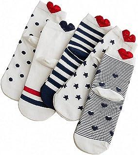 Calcetines para mujer con diseño de rayas divertidas en forma de corazón de algodón para mujer