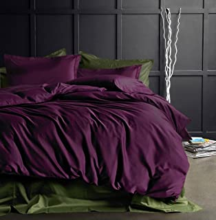 Eikei Solid Color Egyptian Cotton Duvet Cover Luxury Bedding Set High Thread Count Long Staple Sateen Weave Silky Soft Breathable Pima Quality Bed Linen (King, Deep Plum)
