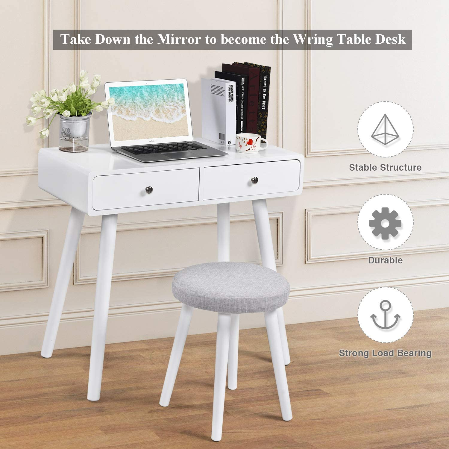 Makeup Vanity Table Set with Drawers and Mirror Bedroom Makeup Dressing Table with Cushioned Stool White Vanity Desk with 2 Large Drawers for Girl Women