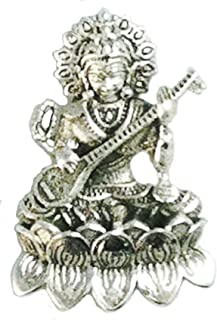 Saraswati Goddess Pendant Hindu Goddess Sterling Silver 1