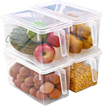 Eanpet Large Fridge Organizer Food Storage Containers Stackable Refrigerator Organizer Bins with Lids Clear Plastic Organi...