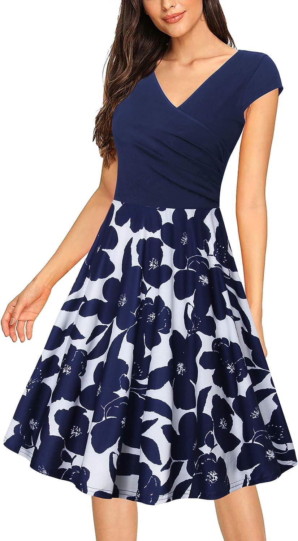 Messic Women's V Neck Dress Cap Sleeve Elegant Flared A-Line Dresses