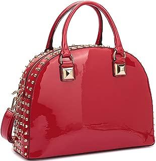 Patent Leather Handbag Domed Satchel Bag Rhinstone Structured Shoulder Bag