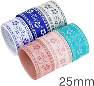 (6 Ribbon Mix) Grosgrain Ribbon Printed Lovely Floral lace Satin Ribbons (9/22/25mm),40