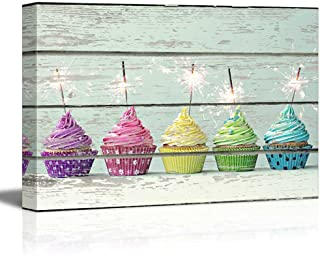 wall26 - Canvas Wall Art - Cupcakes on Vintage Wood Textured Background - Rustic Country Style Modern Giclee Print Gallery Wrap Home Decor Ready to Hang - 12
