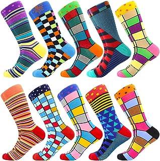 BISOUSOX Chaussettes pour Hommes,Chaussettes Fantaisie avec de Jolis Motifses,Socquettes Colorées Chaussettes Classiques C...