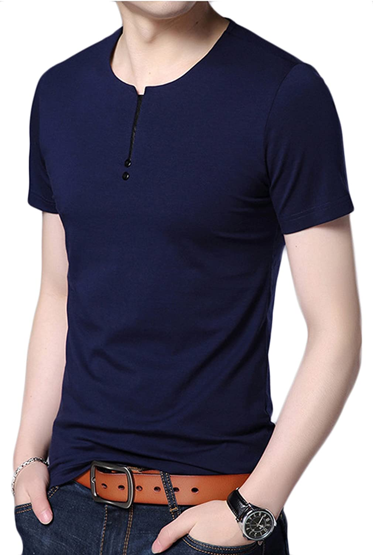 DD.UP Mens Summer Casual Slim Fit Short Sleeve Henley T-Shirts