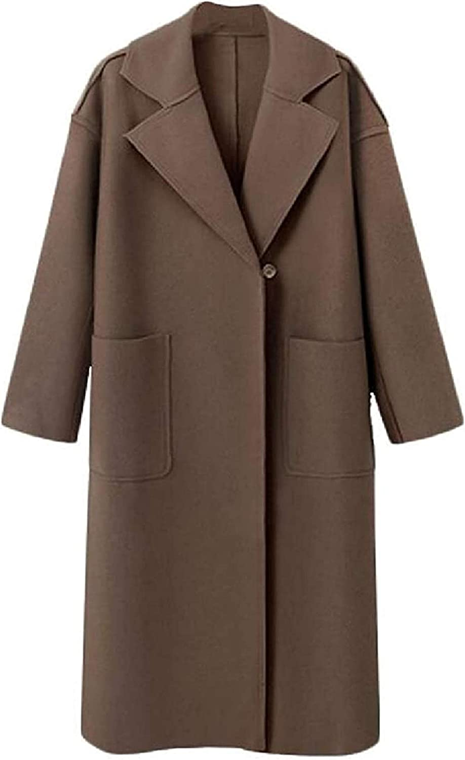 Haayee Women's Solid Color Thick Belted Loose Fit Wool Blend Trench Pea Coat Overcoat