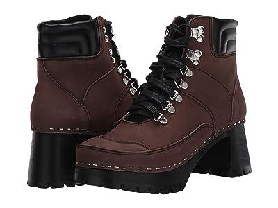 Swedish Hasbeens Trail Boot Clog (Black/Chocolate Nubuck Combo) Women
