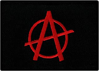 Anarchy Flag Patch Embroidered Iron-On Black Rebel Symbol Anti-Government Emblem