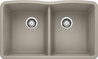 Blanco 441286 SILGRANIT Double Bowl Undermount, Truffle Kitchen Sink, 32'' x 19-1/4'' x 9-1/2