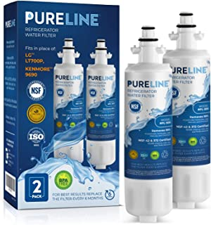 Kenmore 9690 & LG LT700P Certified Water Filter Replacement. Compatible with Kenmore Elite Water Filter 9690,Kenmoreclear 46-9690 LG LT700P, & LG ADQ36006101. - PURELINE PLATINUM (2 Pack)