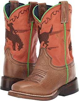 Tan Leather Vamp/Orange Shaft/Bucking Bronc Embroidery