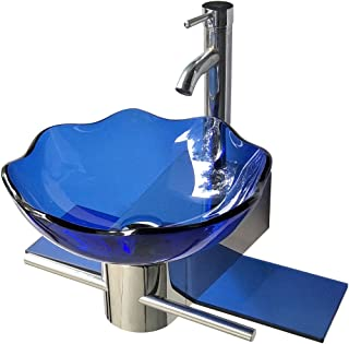 Small Wall Mount Glass Sink Blue Lotus Combo Package   Renovator's Supply