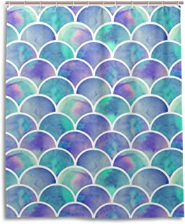 BETTKEN Watercolor Mermaid Fish Scales Shower Curtain Bathroom Set Waterproof Mildew Polyester Fabric with Hook 12 Hole Home Art Decoration 60 x 72 Inch