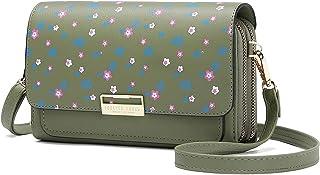 Kleine Crossbody Tasche Handy, Floral Handy-Umhängetasche Schultertasche PU Leder Tasche Brieftasche mit Kartenfächer Vers...