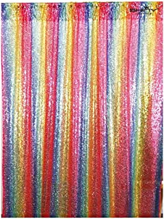 ShinyBeauty Sequin Backdrop Iridescent 8FTx10FT Glitter Photo Booth Background Rainbow Curtain Drapes Wedding Bachelorette Party Birthday Decorations -190626S (8FTx10FT, Multicolor)