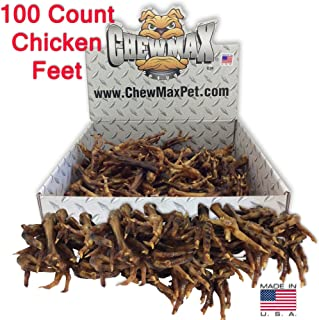 ChewMax Roasted Chicken Feet 100 Count of 100% Natural Roasted Chicken Feet Made in the USA