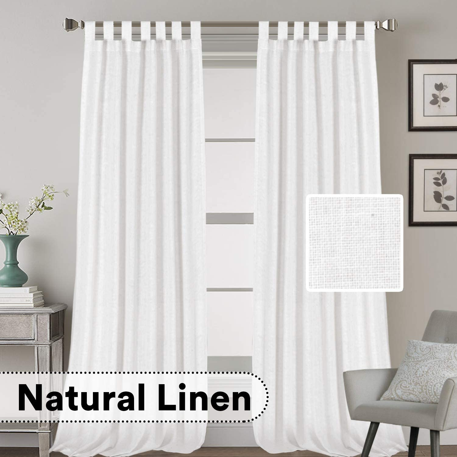 Linen Curtains Natural 価格 35%OFF Blended Tab Window Top Tre