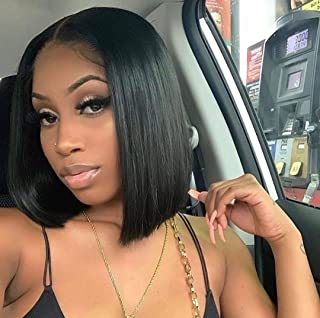 Brazilian Straight Bob Wig Human Hair 13x4x1 Bob Lace Frontal Wigs Human Hair 150% Density Short Bob Wigs for Black Women ...