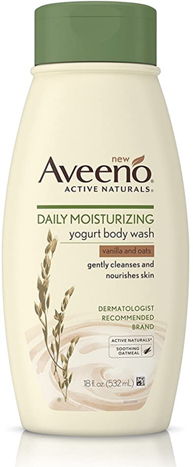AVEENO Active Naturals Daily Moisturizing Yogurt Body Wash, Vanilla & Oat 18 oz (2 Pack)