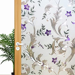Iris Flower Frosted Non Adhesive Decorative Window Film, Static Cling Glass Film, Removable Privacy Door Film Window Cling, Stained Glass Window Decoration Heat Control & Anti UV, 35.5x78.7 inch