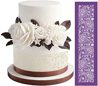 """ART KITCHENWARE Flower Mesh Cake Stencils for Royal Icing Peony Cake Lace Stencil for Wedding Cake Decorating Cookie Stencils for Bakery 19""""×5.12"""""""