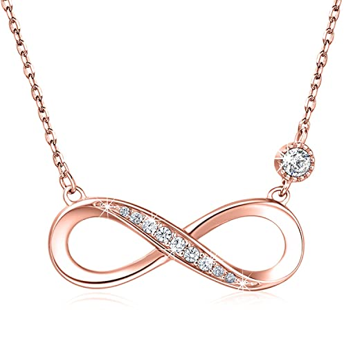 """cf97e3e30b343 Billie Bijoux 925 Sterling Silver Necklace Forever Love"""" Infinity Heart  Love Pendant White Gold Plated"""