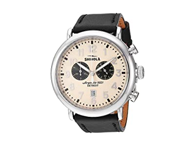 Shinola Detroit 47 mm Runwell Chrono (Cream/Black Leather Strap) Watches
