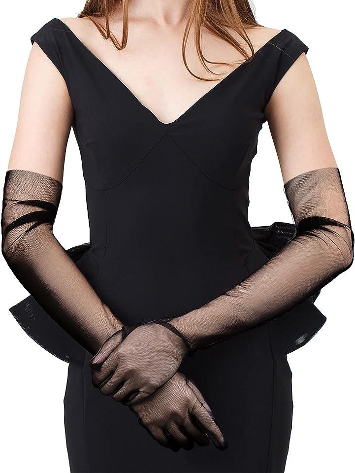 Women Opera Gloves Semi Sheer Gloves Tulle Long Wedding Bridal Gloves for Wedding Bridal Opera Party