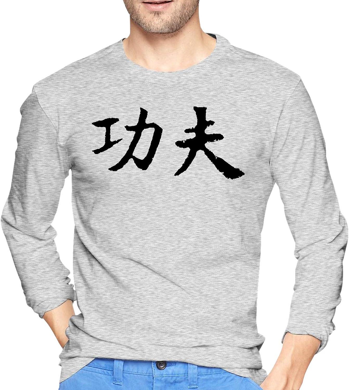 Chinese Character Kung Fu 1 Crewneck Shirts Ultra Soft T Long-Sleeve T-Shirts for Men's