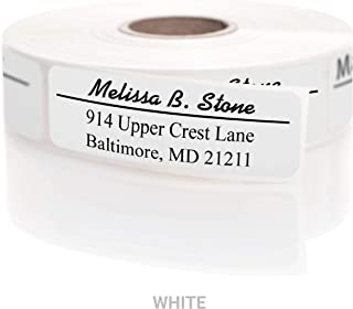 Modern Classic Rolled Return Address Labels with Elegant Plastic Dispenser - White