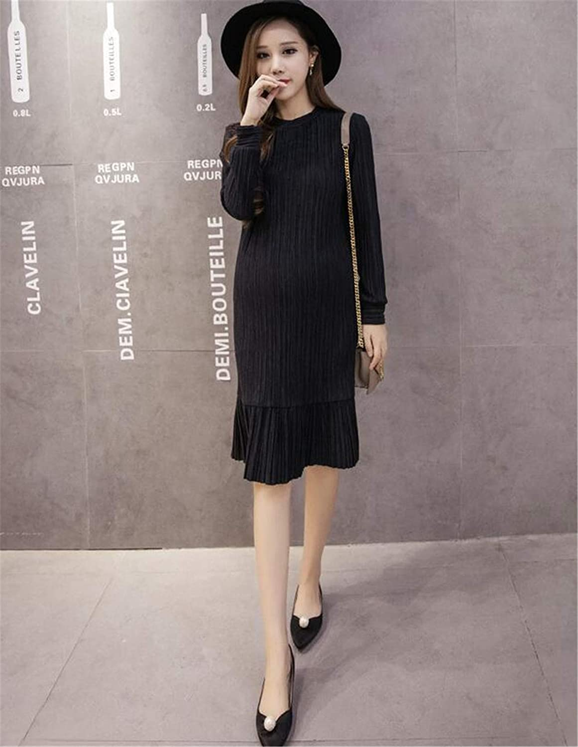 Maternity Wrap Dress, European and American Elegant Cotton Long Round Neck Slimming Fishtail Long Sleeve Maternity Skirt