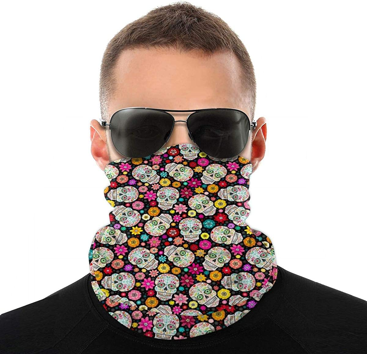 Floral Skull Face Mask Neck Gaiter Headwear for Women Men Face Scarf