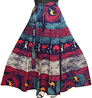 Rangun Presenting Woman's Cotton Printed Touquoise Color Casual Skirt (A-line :: Free Size) Turquoise