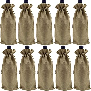 Ankirol 10pcs Wine Bags with Drawstring Burlap Bottle Bags Gift Packaging 6x14 inch Reusable Bottle Wrap Dresses Pouches (Wine Bags)
