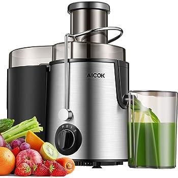 Aicok Centrifuga Frutta e Verdura 3 Velocità Estrattore di Succo a Freddo con 65MM Bocca Larga, Piedi Anti-scivolosi e Facile Pulizia, Centrifuga di Acciaio Inox con Funzione Antigoccia, Senza BPA