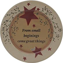 """CVHOMEDECO. Primitives Vintage """"from Small Beginings, Come Great Things"""" Wood Decorative Plate Round Display Wooden Plate ..."""