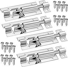 4 stuks deurgrendels roestvrij staal deurslot met schroeven voor tuindeur, badkamer, schuur, toilet, klikgrendel, eenvoudi...