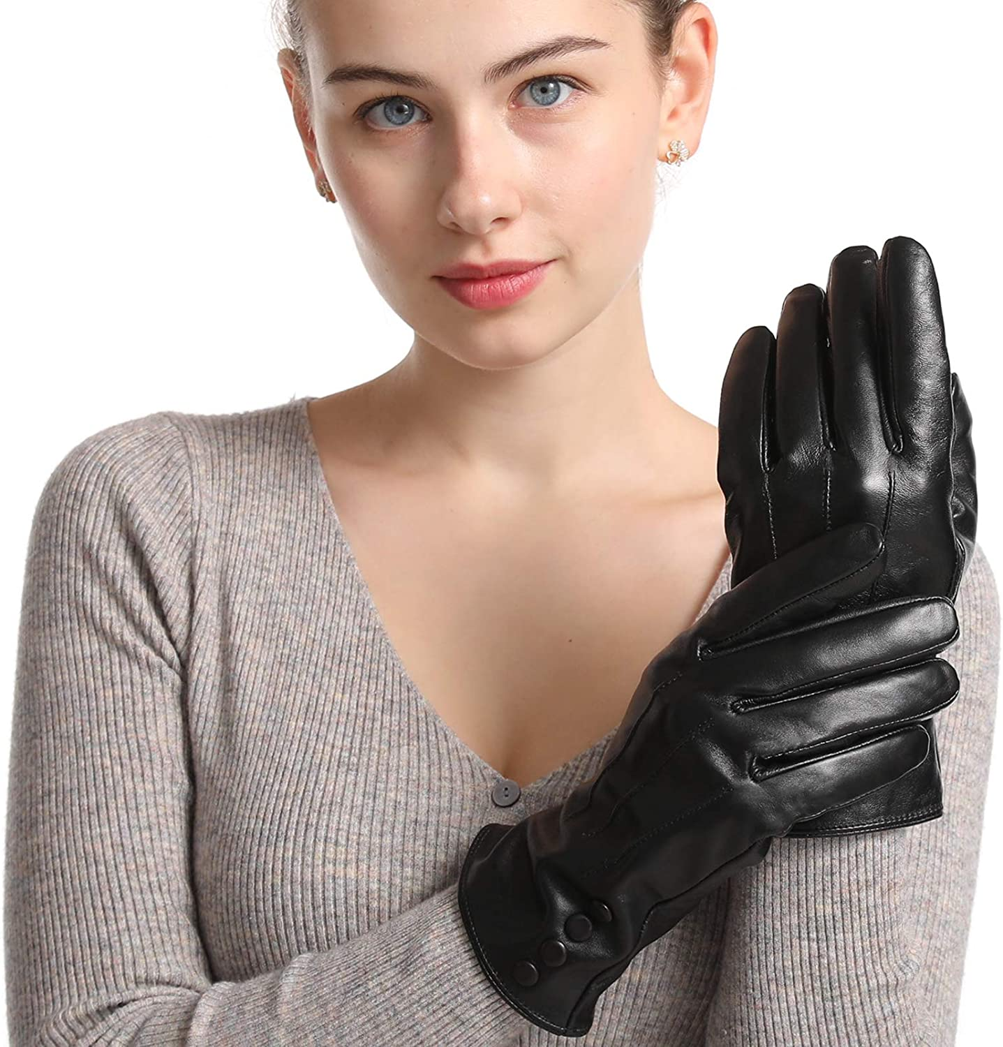 Black Leather Spring Ranking TOP18 new work one after another Gloves Women Winter Warm TouchScree Lined Cashmere