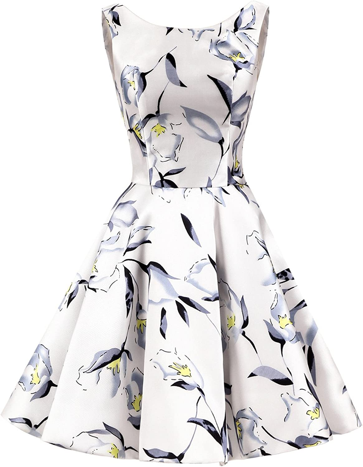 ALAGIRLS Short Floral Printed Satin Prom Dress Homecoming Coctail Gowns
