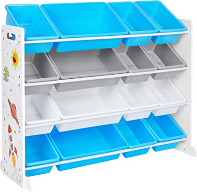 """SONGMICS Kid's Large Toy Storage Unit with 16 Removable Bins, for Playroom, Children's Room, 41.7"""", Blue and Gray"""
