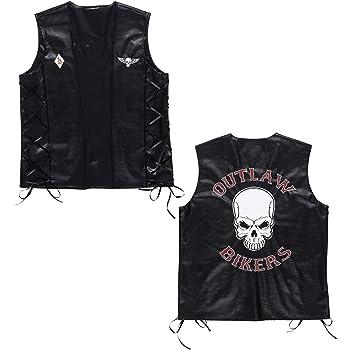 Outlaw Stirnband und Bart Rocker Kostüm Set Biker Outfit mit Bandana Vollbart