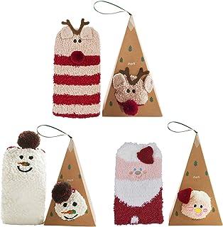 Bageek Calcetines de Navidad, 3 Pares Calcetines Navidad Mujer Santa Claus Muñeco de Nieve Calcetines de Felpa Cálidos Calcetines Navidad Regalo Calcetines para Adultos Cómodo Calcetines